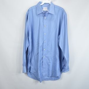Dunhill Mens 16.5 R Long Sleeve Dress Shirt Blue